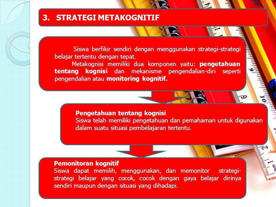 3.STRATEGI METAKOGNITIF Siswa berfikir sendiri dengan menggunakan strategi-strategi belajar tertentu dengan tepat. Metakognisi memiliki dua komponen y