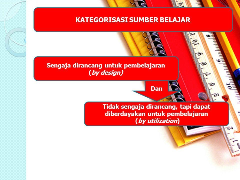 KATEGORISASI SUMBER BELAJAR Sengaja dirancang untuk pembelajaran (by design) Tidak sengaja dirancang, tapi dapat diberdayakan untuk pembelajaran (by u
