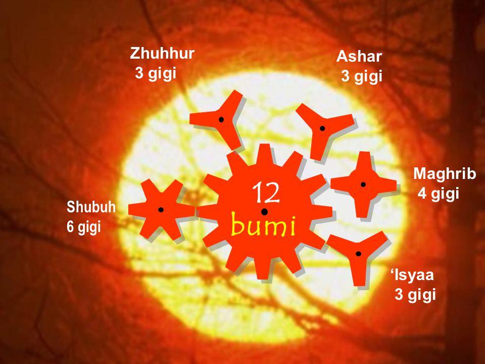 12 bumi Shubuh 6 gigi Zhuhhur 3 gigi Ashar 3 gigi Maghrib 4 gigi 'Isyaa 3 gigi