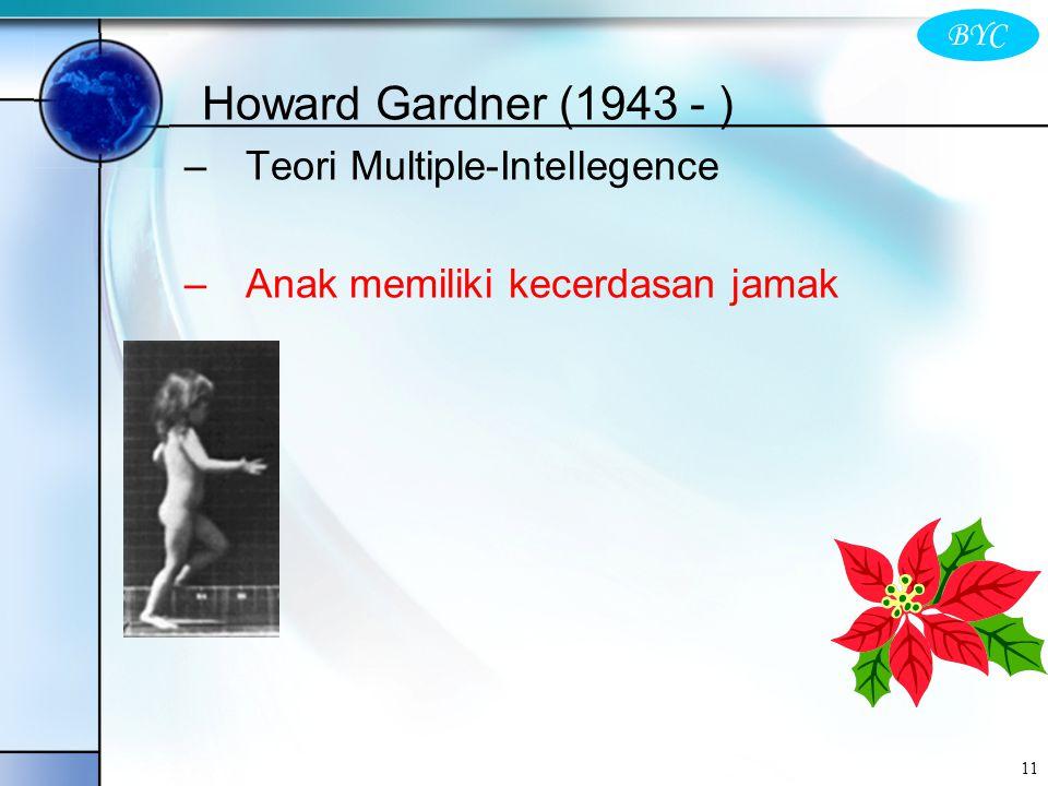 BYC 11 Howard Gardner (1943 - ) –Teori Multiple-Intellegence –Anak memiliki kecerdasan jamak