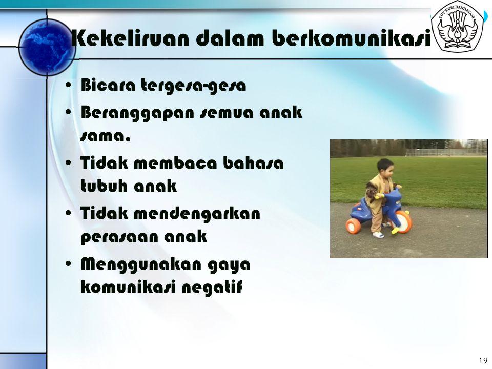 BYC 19 Kekeliruan dalam berkomunikasi Bicara tergesa-gesa Beranggapan semua anak sama. Tidak membaca bahasa tubuh anak Tidak mendengarkan perasaan ana