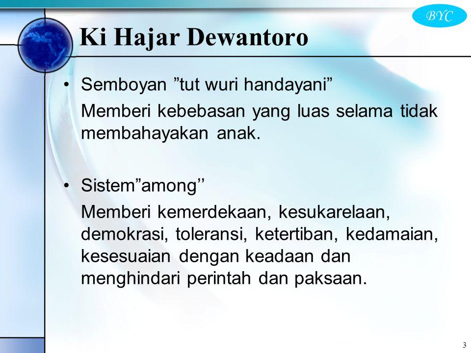 "3 Semboyan ""tut wuri handayani"" Memberi kebebasan yang luas selama tidak membahayakan anak. Sistem""among'' Memberi kemerdekaan, kesukarelaan, demokras"