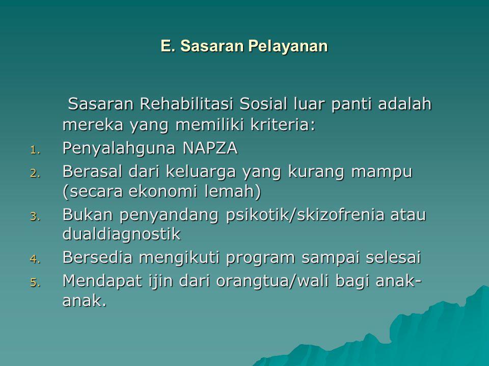 E. Sasaran Pelayanan Sasaran Rehabilitasi Sosial luar panti adalah mereka yang memiliki kriteria: Sasaran Rehabilitasi Sosial luar panti adalah mereka
