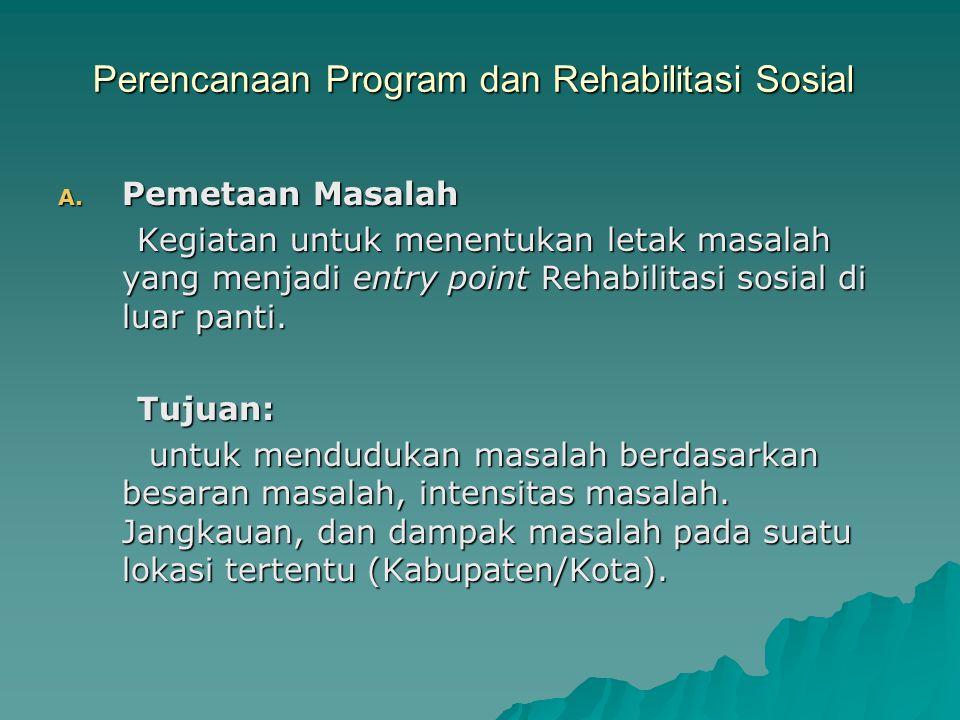 Perencanaan Program dan Rehabilitasi Sosial A. Pemetaan Masalah Kegiatan untuk menentukan letak masalah yang menjadi entry point Rehabilitasi sosial d