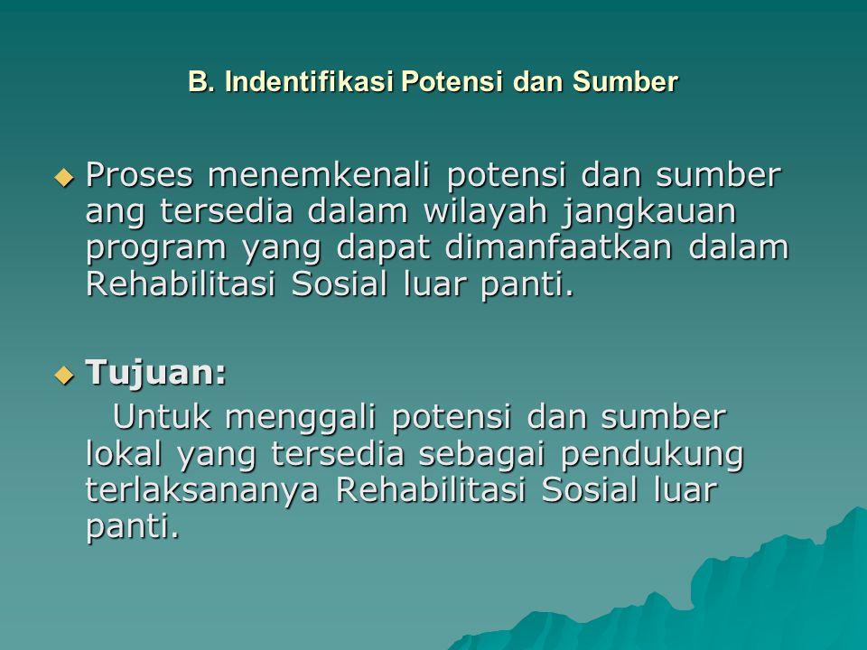 B. Indentifikasi Potensi dan Sumber  Proses menemkenali potensi dan sumber ang tersedia dalam wilayah jangkauan program yang dapat dimanfaatkan dalam
