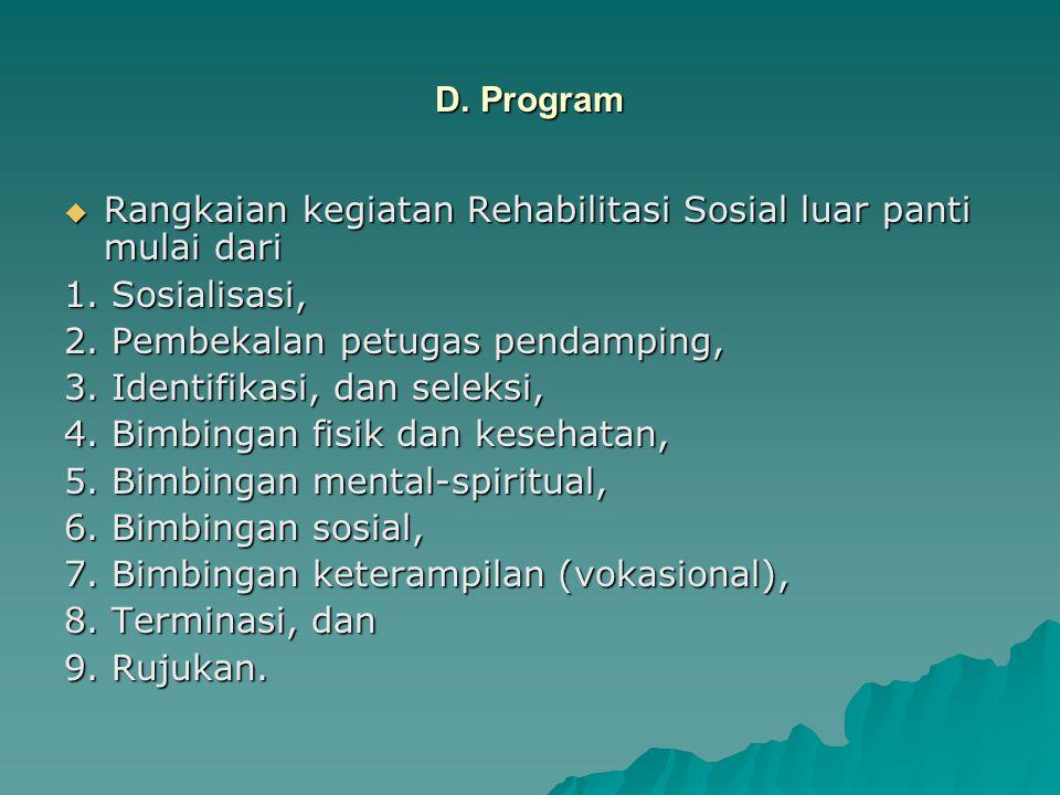 D. Program  Rangkaian kegiatan Rehabilitasi Sosial luar panti mulai dari 1. Sosialisasi, 2. Pembekalan petugas pendamping, 3. Identifikasi, dan selek