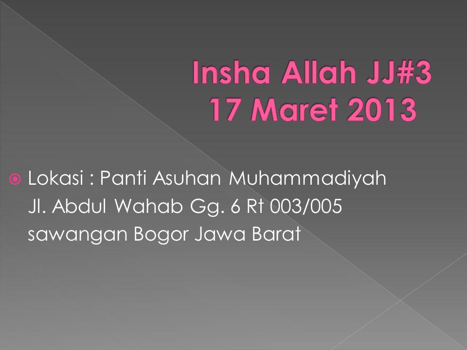  Lokasi : Panti Asuhan Muhammadiyah Jl. Abdul Wahab Gg. 6 Rt 003/005 sawangan Bogor Jawa Barat