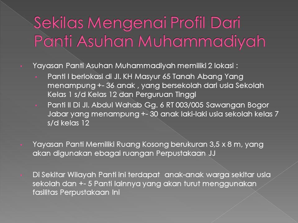Yayasan Panti Asuhan Muhammadiyah memiliki 2 lokasi : Panti I berlokasi di Jl. KH Masyur 65 Tanah Abang Yang menampung +- 36 anak, yang bersekolah dar