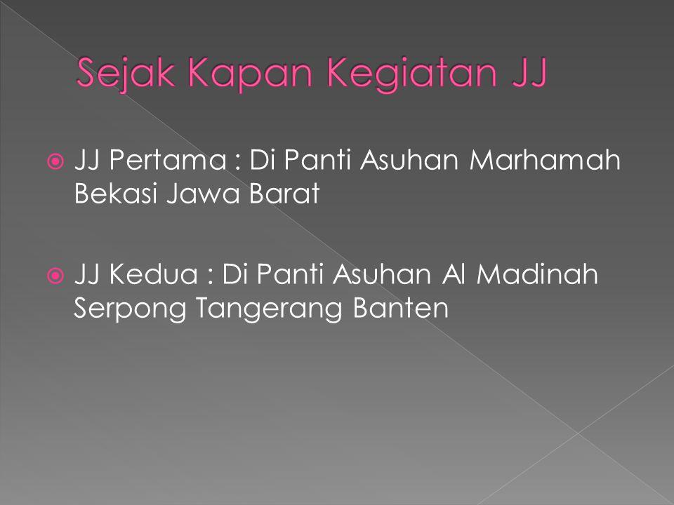  JJ Pertama : Di Panti Asuhan Marhamah Bekasi Jawa Barat  JJ Kedua : Di Panti Asuhan Al Madinah Serpong Tangerang Banten