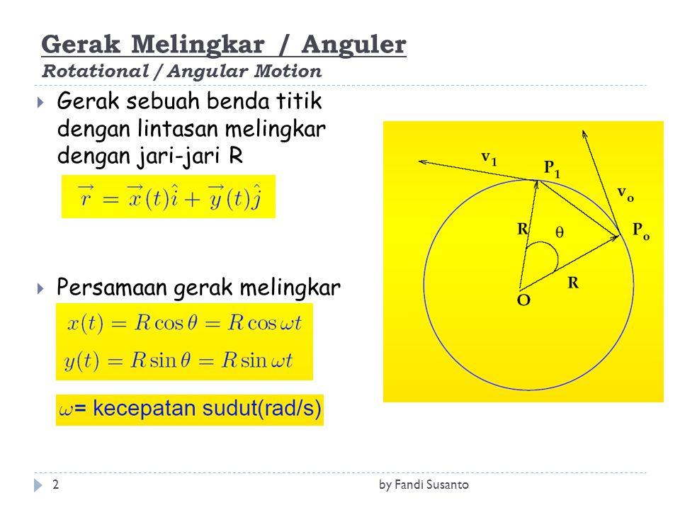 Gerak Melingkar / Anguler Rotational / Angular Motion  Gerak sebuah benda titik dengan lintasan melingkar dengan jari-jari R  Persamaan gerak meling