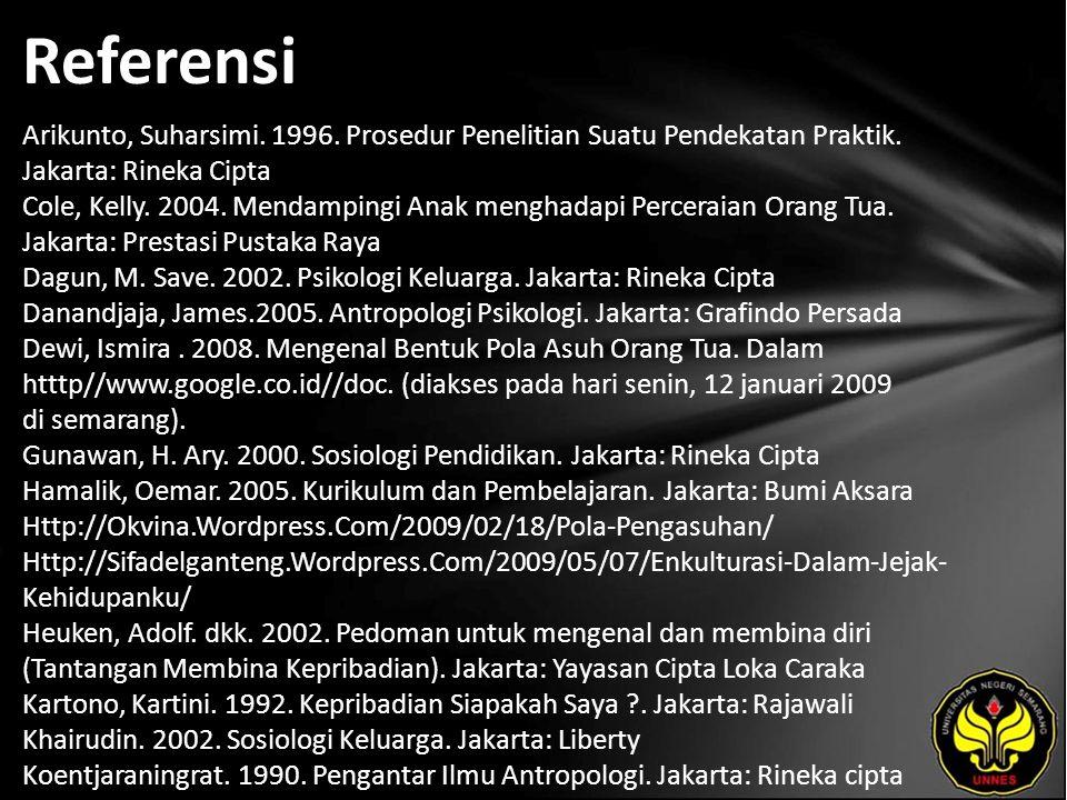 Referensi Arikunto, Suharsimi. 1996. Prosedur Penelitian Suatu Pendekatan Praktik.