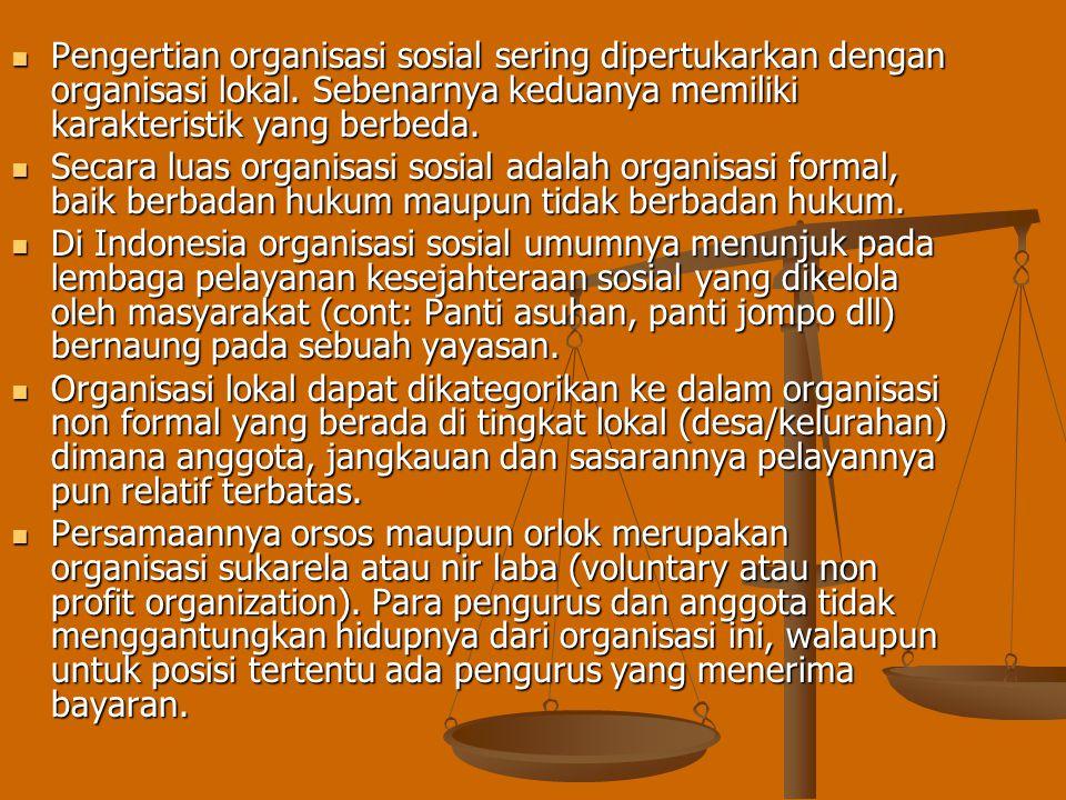 ORGANISASI SOSIAL DAN ORGANISASI LOKAL Salah satu sasaran perubahan pekerjaan sosial adalah organisasi kemasyarakatan meliputi organisasi sosial (soci