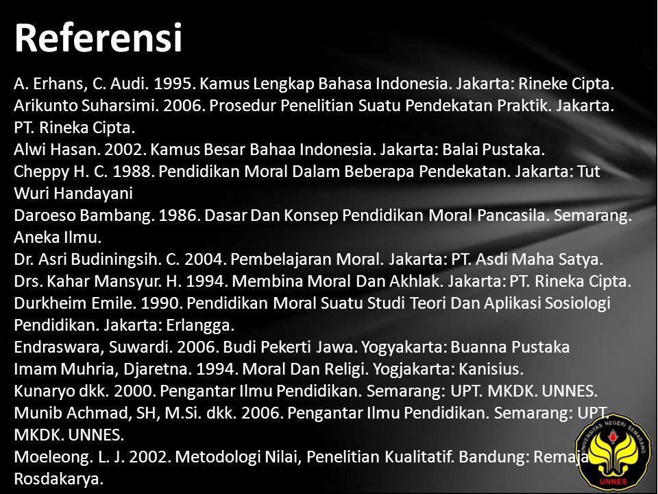 Referensi A.Erhans, C. Audi. 1995. Kamus Lengkap Bahasa Indonesia.