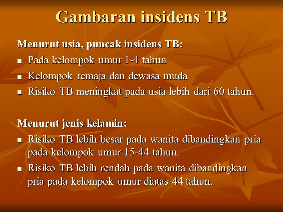 Gambaran insidens TB Menurut usia, puncak insidens TB: Pada kelompok umur 1-4 tahun Pada kelompok umur 1-4 tahun Kelompok remaja dan dewasa muda Kelompok remaja dan dewasa muda Risiko TB meningkat pada usia lebih dari 60 tahun.