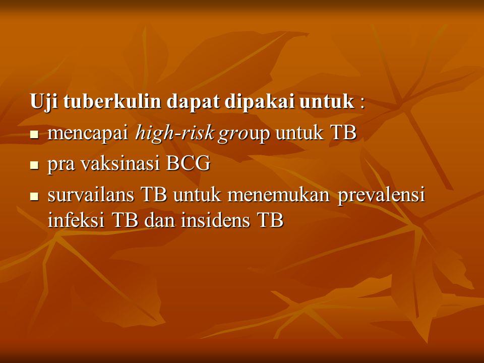 Uji tuberkulin dapat dipakai untuk : mencapai high-risk group untuk TB mencapai high-risk group untuk TB pra vaksinasi BCG pra vaksinasi BCG survailans TB untuk menemukan prevalensi infeksi TB dan insidens TB survailans TB untuk menemukan prevalensi infeksi TB dan insidens TB