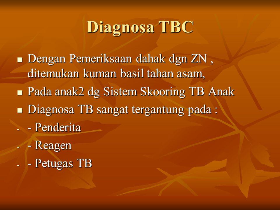 Diagnosa TBC Dengan Pemeriksaan dahak dgn ZN, ditemukan kuman basil tahan asam, Dengan Pemeriksaan dahak dgn ZN, ditemukan kuman basil tahan asam, Pad