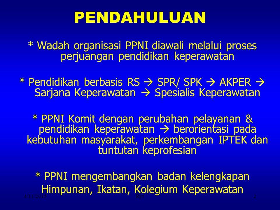 4/11/2015Ryt2 PENDAHULUAN * Wadah organisasi PPNI diawali melalui proses perjuangan pendidikan keperawatan * Pendidikan berbasis RS  SPR/ SPK  AKPER