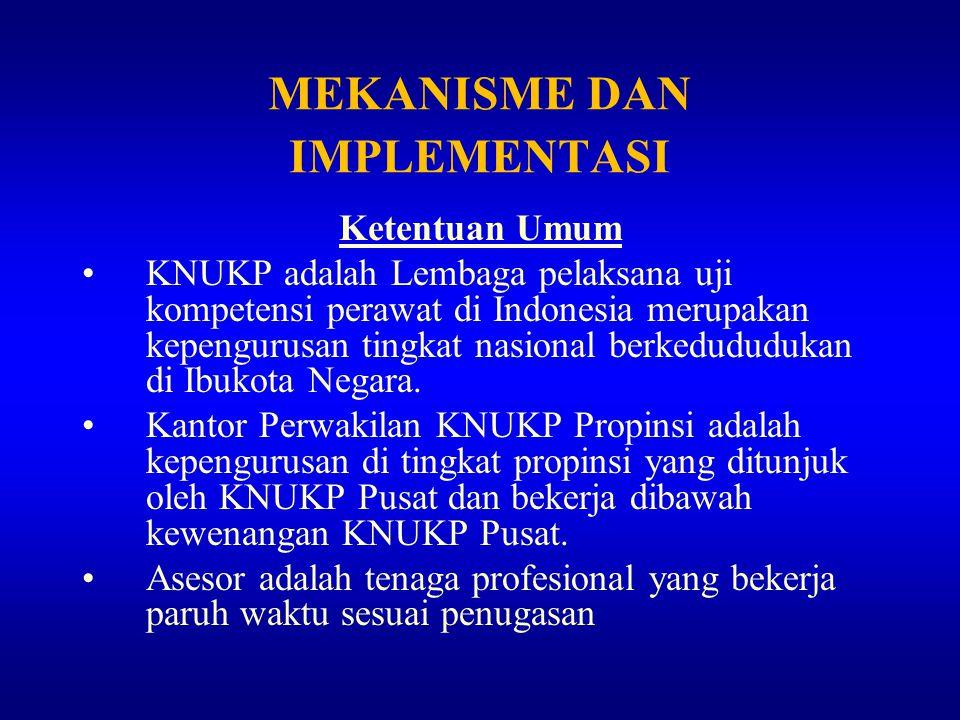 MEKANISME DAN IMPLEMENTASI Ketentuan Umum KNUKP adalah Lembaga pelaksana uji kompetensi perawat di Indonesia merupakan kepengurusan tingkat nasional b
