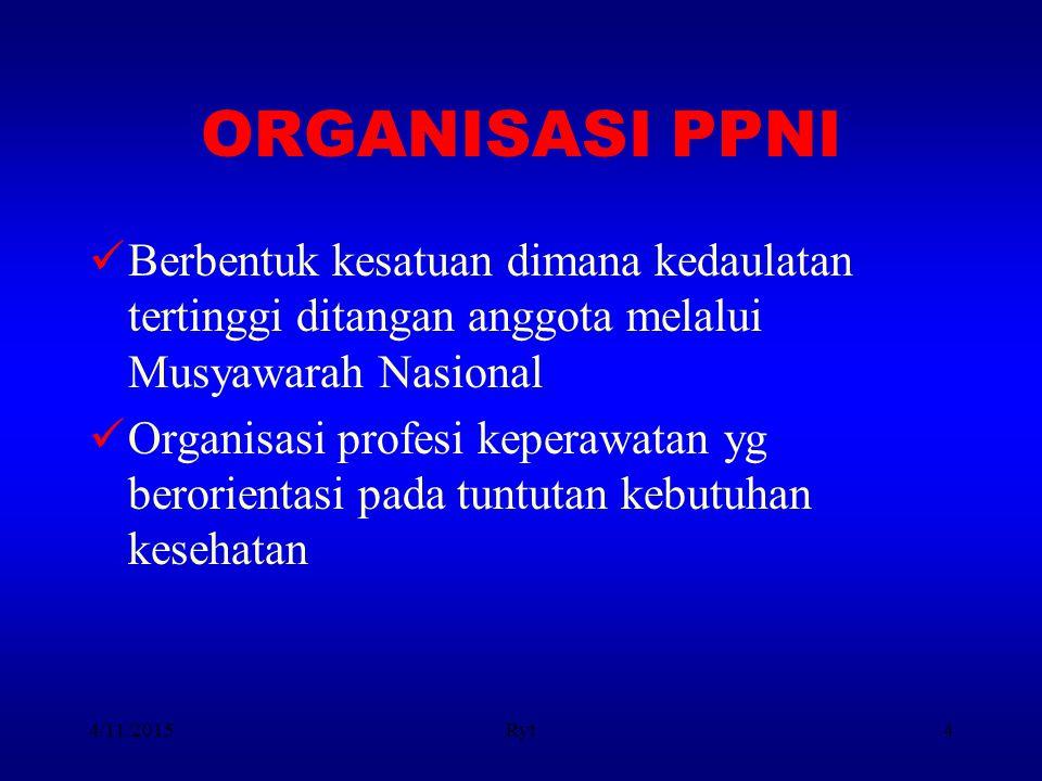 4/11/2015Ryt4 ORGANISASI PPNI Berbentuk kesatuan dimana kedaulatan tertinggi ditangan anggota melalui Musyawarah Nasional Organisasi profesi keperawat
