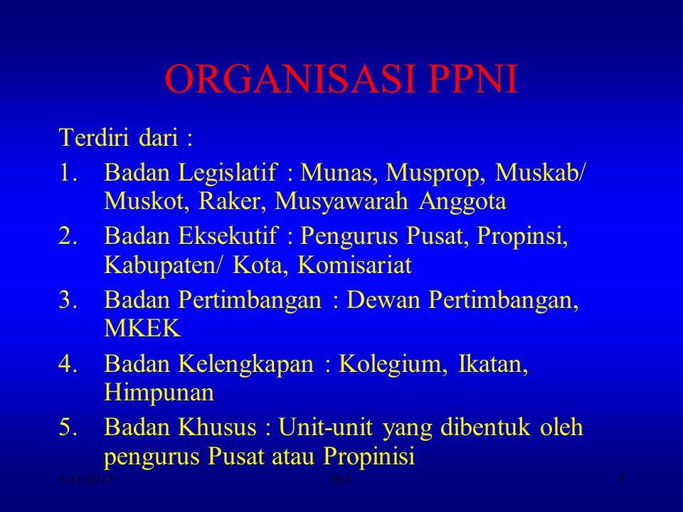 4/11/2015Ryt5 ORGANISASI PPNI Terdiri dari : 1.Badan Legislatif : Munas, Musprop, Muskab/ Muskot, Raker, Musyawarah Anggota 2.Badan Eksekutif : Pengur