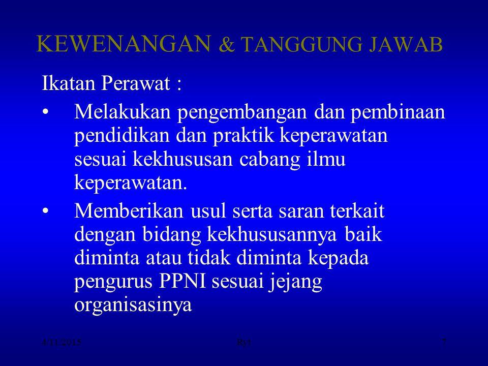4/11/2015Ryt8 KEPENGURUSAN IKATAN Kedudukan berada di tingkat pusat, Propinsi, Kabupaten/Kota sesuai jenjang organisasinya.