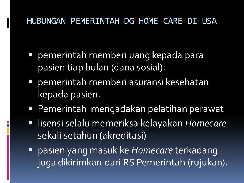 HUBUNGAN PEMERINTAH DG HOME CARE DI USA  pemerintah memberi uang kepada para pasien tiap bulan (dana sosial).