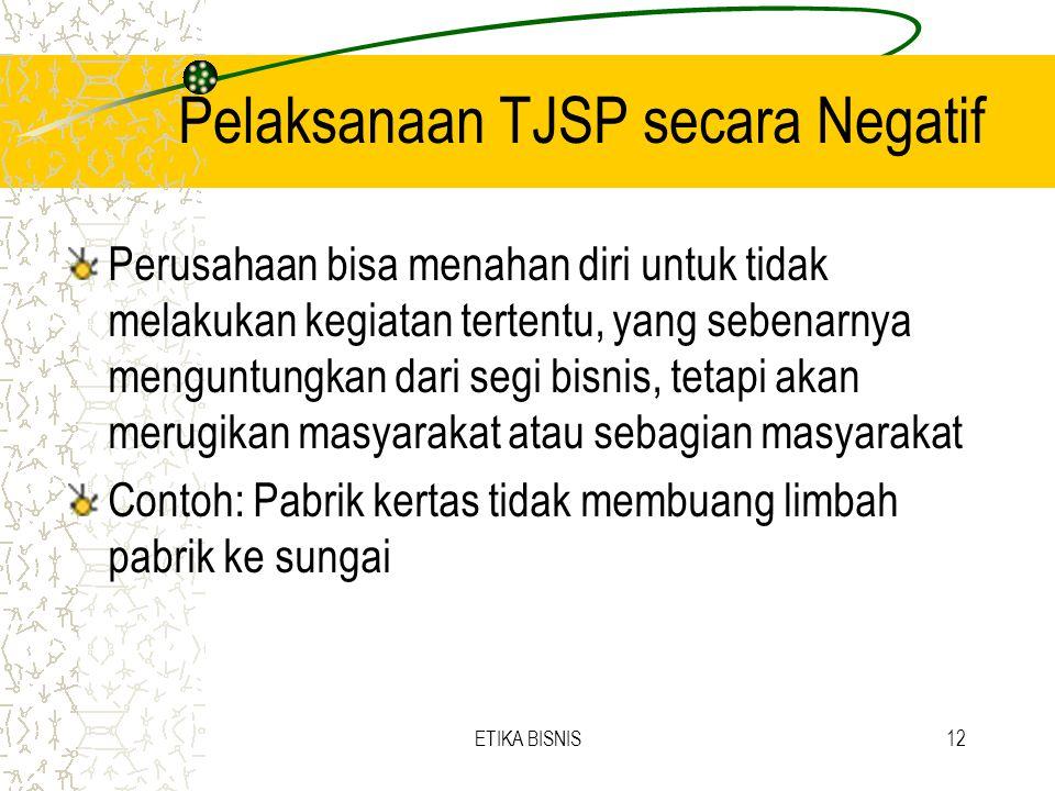 Pelaksanaan TJSP secara Negatif Perusahaan bisa menahan diri untuk tidak melakukan kegiatan tertentu, yang sebenarnya menguntungkan dari segi bisnis,