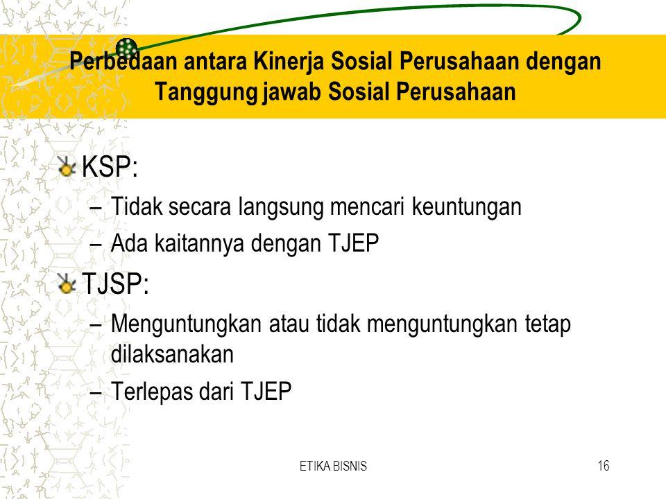 Perbedaan antara Kinerja Sosial Perusahaan dengan Tanggung jawab Sosial Perusahaan KSP: –Tidak secara langsung mencari keuntungan –Ada kaitannya denga