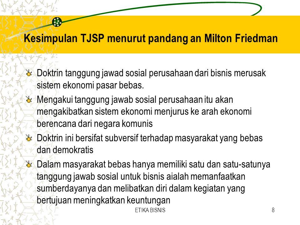 Kesimpulan TJSP menurut pandang an Milton Friedman Doktrin tanggung jawad sosial perusahaan dari bisnis merusak sistem ekonomi pasar bebas. Mengakui t