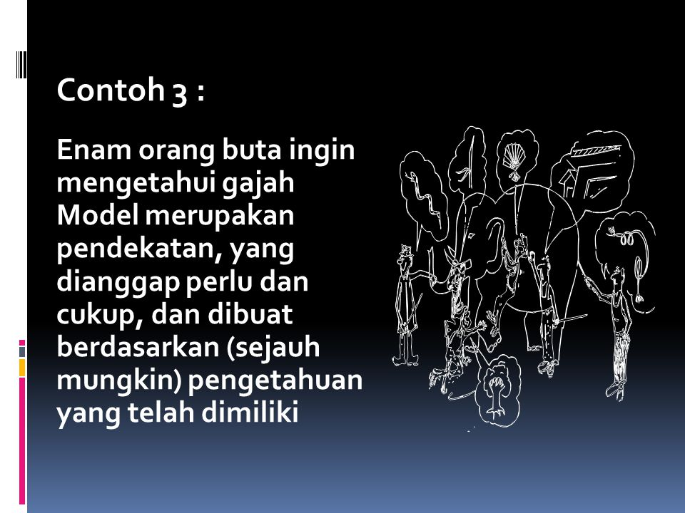 Contoh 3 : Enam orang buta ingin mengetahui gajah Model merupakan pendekatan, yang dianggap perlu dan cukup, dan dibuat berdasarkan (sejauh mungkin) p