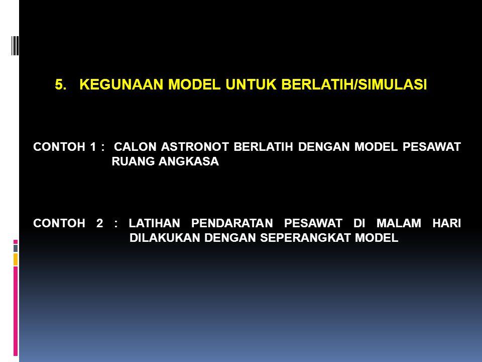 5. KEGUNAAN MODEL UNTUK BERLATIH/SIMULASI CONTOH 1 : CALON ASTRONOT BERLATIH DENGAN MODEL PESAWAT RUANG ANGKASA CONTOH 2 : LATIHAN PENDARATAN PESAWAT