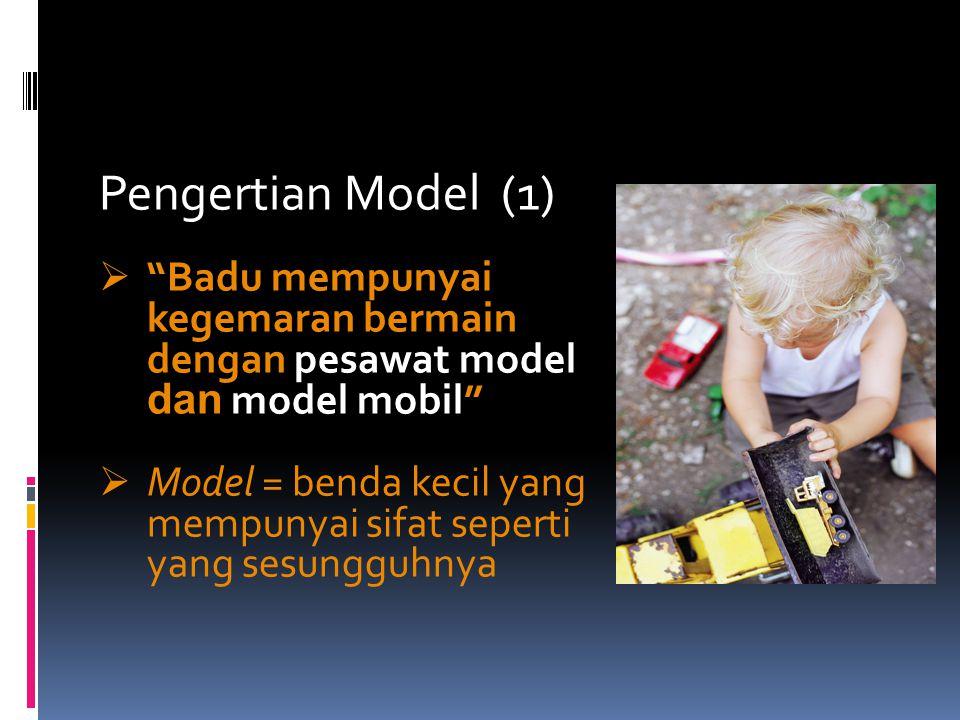 Pengertian Model (2)  Dia bekerja sebagai foto model  Model = orang yang memperagakan sesuatu (pakaian) sehingga menarik untuk ditiru atau dibeli ( = idealisasi)