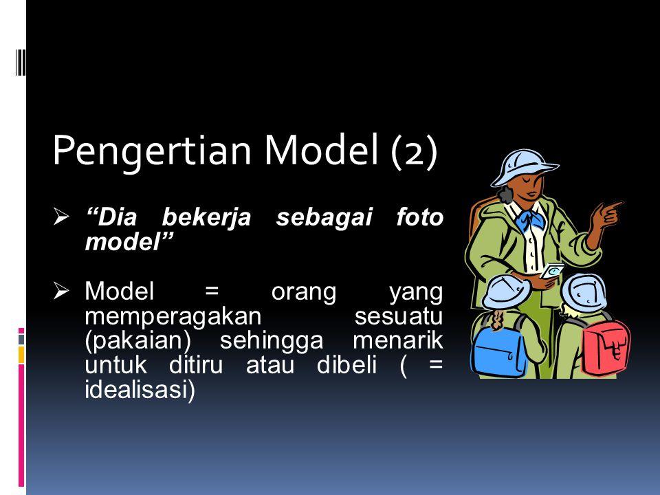 """Pengertian Model (2)  """"Dia bekerja sebagai foto model""""  Model = orang yang memperagakan sesuatu (pakaian) sehingga menarik untuk ditiru atau dibeli"""