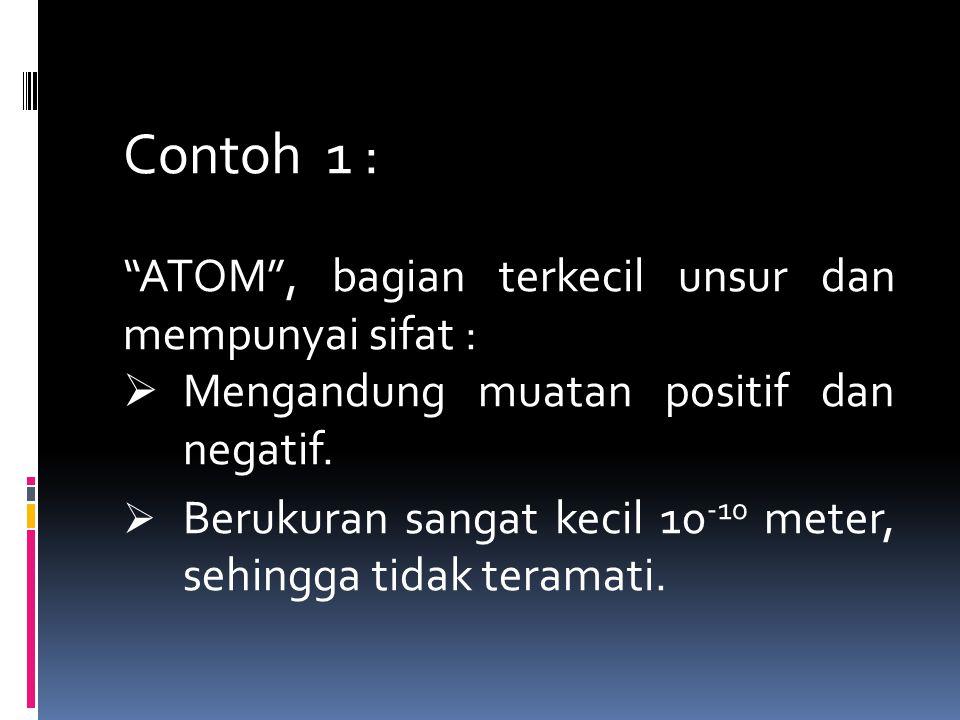 "Contoh 1 : ""ATOM"", bagian terkecil unsur dan mempunyai sifat :  Mengandung muatan positif dan negatif.  Berukuran sangat kecil 10 -10 meter, sehingg"