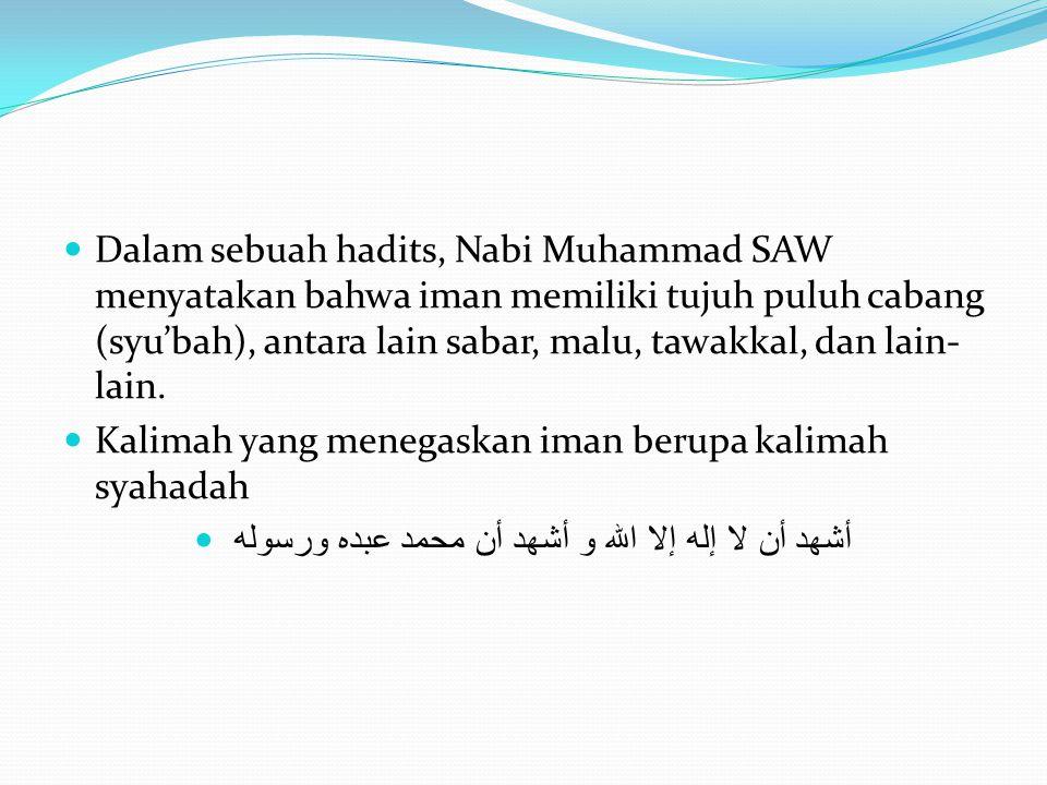 Dalam sebuah hadits, Nabi Muhammad SAW menyatakan bahwa iman memiliki tujuh puluh cabang (syu'bah), antara lain sabar, malu, tawakkal, dan lain- lain.