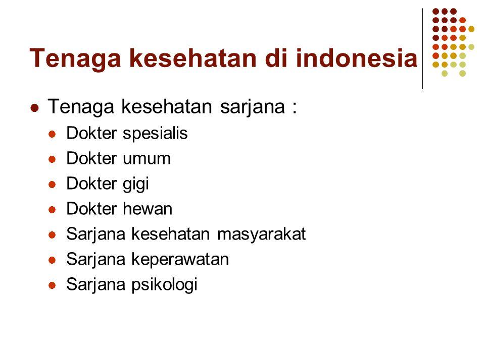 Tenaga kesehatan di indonesia Tenaga kesehatan sarjana : Dokter spesialis Dokter umum Dokter gigi Dokter hewan Sarjana kesehatan masyarakat Sarjana ke