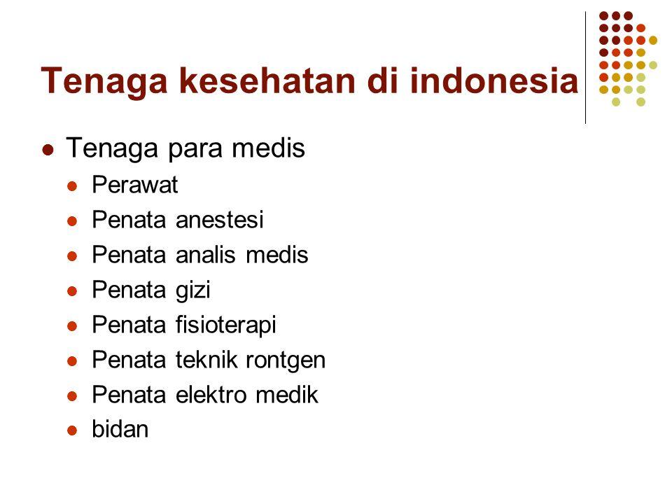 Tenaga kesehatan di indonesia Tenaga para medis Perawat Penata anestesi Penata analis medis Penata gizi Penata fisioterapi Penata teknik rontgen Penat