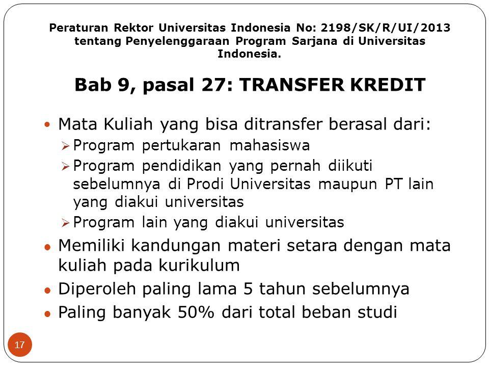 Peraturan Rektor Universitas Indonesia No: 2198/SK/R/UI/2013 tentang Penyelenggaraan Program Sarjana di Universitas Indonesia. Bab 9, pasal 27: TRANSF