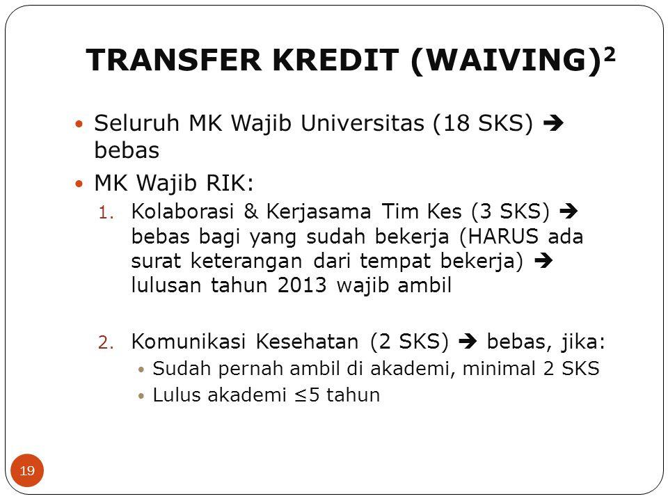 TRANSFER KREDIT (WAIVING) 2 19 Seluruh MK Wajib Universitas (18 SKS)  bebas MK Wajib RIK: 1. Kolaborasi & Kerjasama Tim Kes (3 SKS)  bebas bagi yang