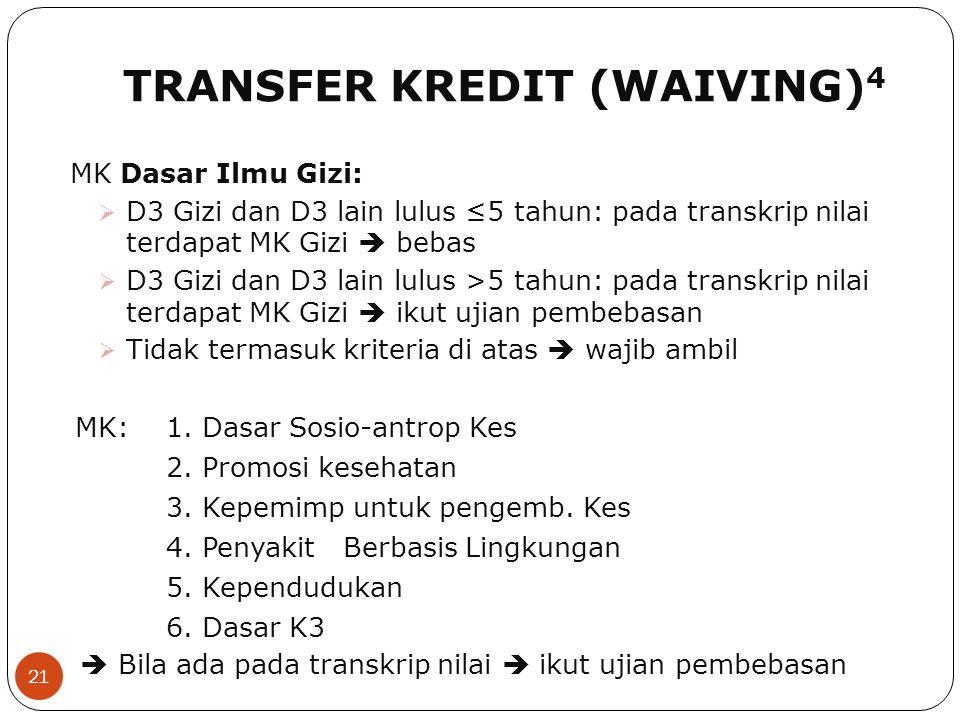 TRANSFER KREDIT (WAIVING) 4 21 MK Dasar Ilmu Gizi:  D3 Gizi dan D3 lain lulus ≤5 tahun: pada transkrip nilai terdapat MK Gizi  bebas  D3 Gizi dan D