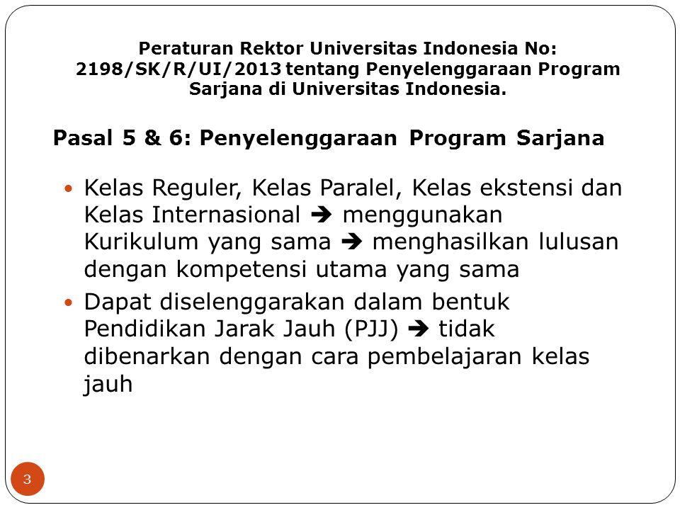 Peraturan Rektor Universitas Indonesia No: 2198/SK/R/UI/2013 tentang Penyelenggaraan Program Sarjana di Universitas Indonesia. 3 Kelas Reguler, Kelas