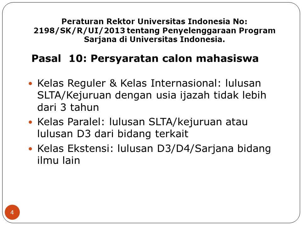 Peraturan Rektor Universitas Indonesia No: 2198/SK/R/UI/2013 tentang Penyelenggaraan Program Sarjana di Universitas Indonesia. 4 Kelas Reguler & Kelas