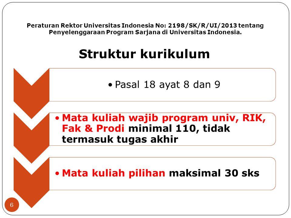 Peraturan Rektor Universitas Indonesia No: 2198/SK/R/UI/2013 tentang Penyelenggaraan Program Sarjana di Universitas Indonesia. Pasal 18 ayat 8 dan 9 M