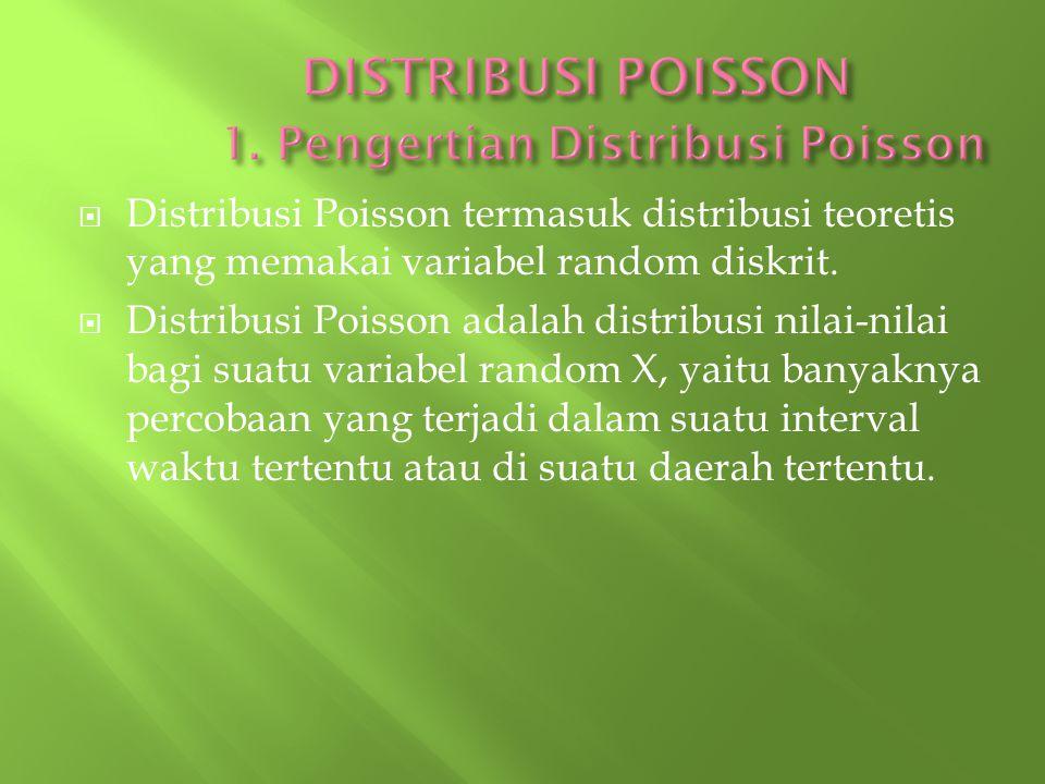  Distribusi Poisson termasuk distribusi teoretis yang memakai variabel random diskrit.  Distribusi Poisson adalah distribusi nilai-nilai bagi suatu