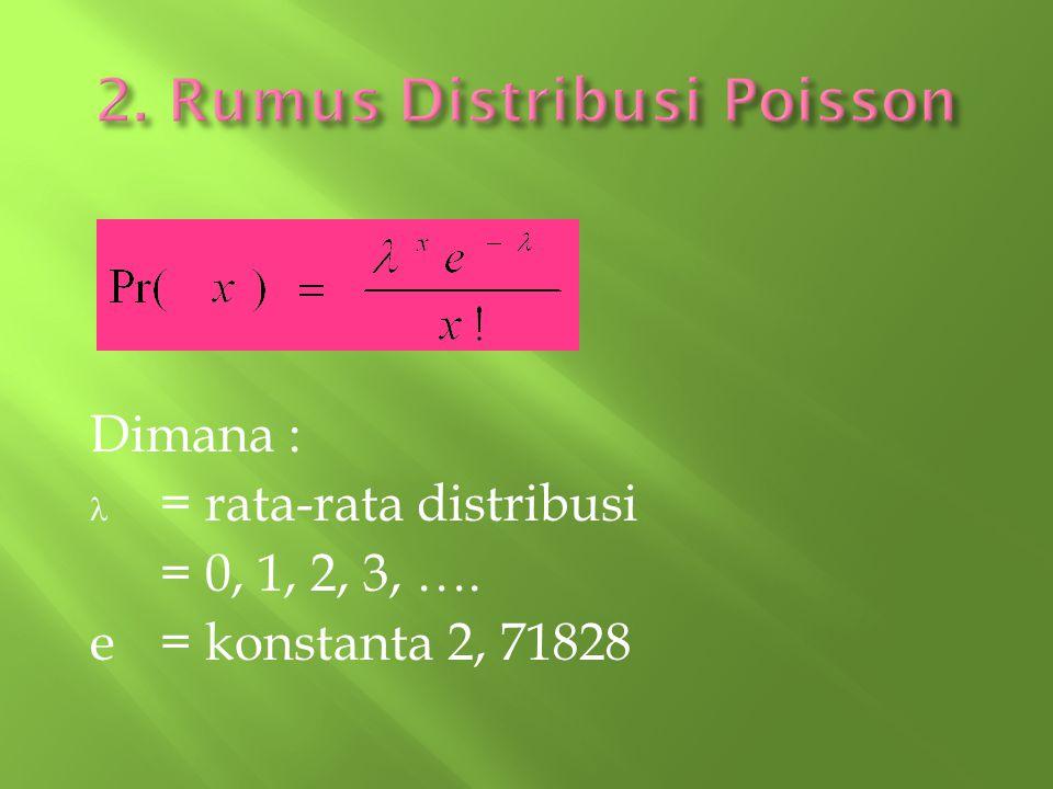 Dimana : = rata-rata distribusi = 0, 1, 2, 3, …. e= konstanta 2, 71828