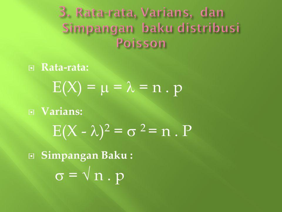  Rata-rata: E(X) =  = = n. p  Varians: E(X - ) 2 =  2 = n. P  Simpangan Baku :  =  n. p