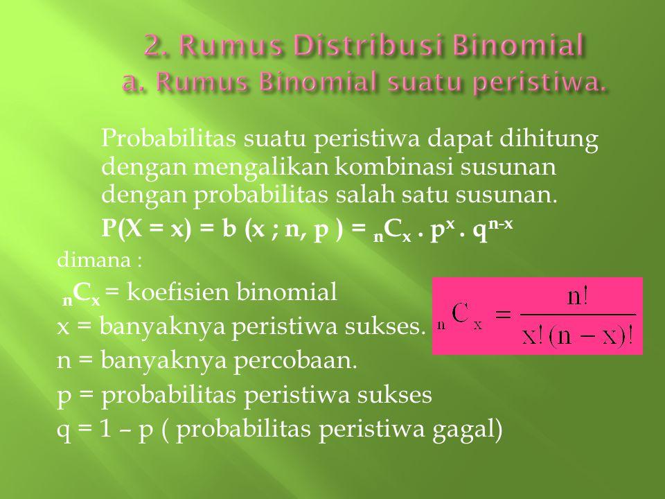 Probabilitas suatu peristiwa dapat dihitung dengan mengalikan kombinasi susunan dengan probabilitas salah satu susunan. P(X = x) = b (x ; n, p ) = n C