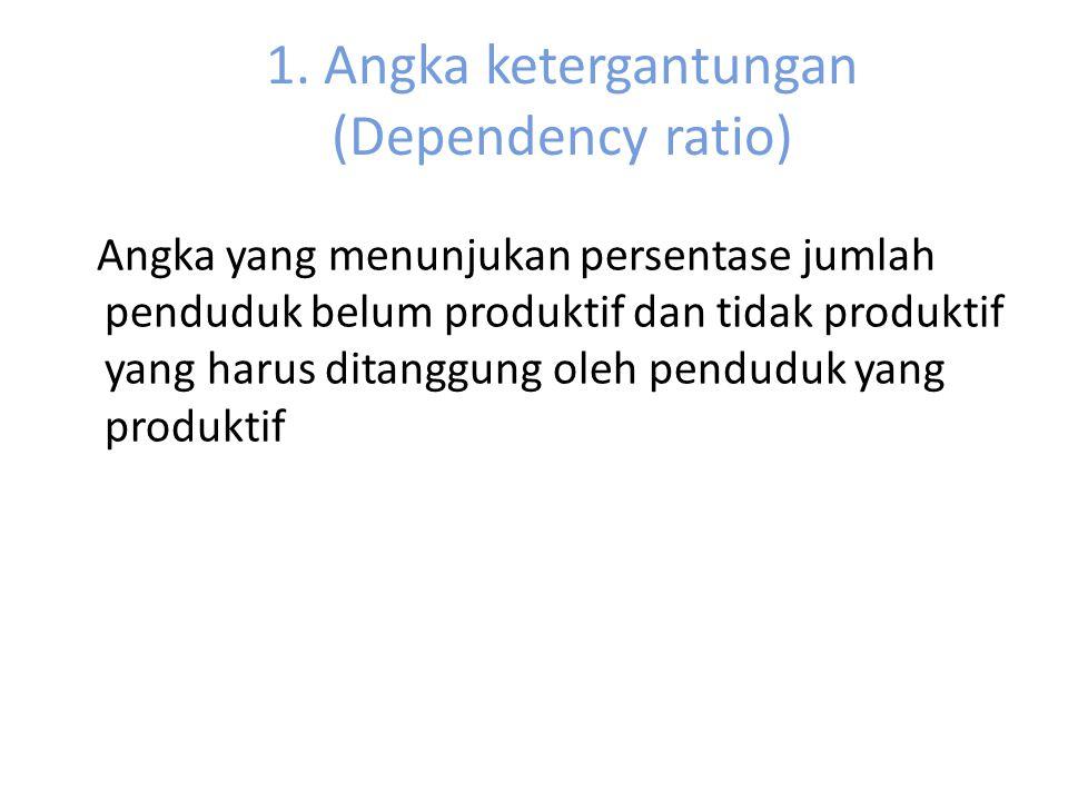 1. Angka ketergantungan (Dependency ratio) Angka yang menunjukan persentase jumlah penduduk belum produktif dan tidak produktif yang harus ditanggung