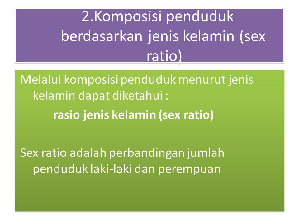 2.Komposisi penduduk berdasarkan jenis kelamin (sex ratio) Melalui komposisi penduduk menurut jenis kelamin dapat diketahui : rasio jenis kelamin (sex ratio) Sex ratio adalah perbandingan jumlah penduduk laki-laki dan perempuan Melalui komposisi penduduk menurut jenis kelamin dapat diketahui : rasio jenis kelamin (sex ratio) Sex ratio adalah perbandingan jumlah penduduk laki-laki dan perempuan