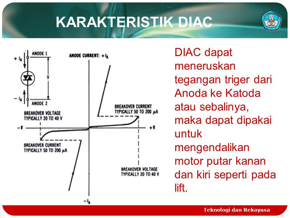 KARAKTERISTIK DIAC Teknologi dan Rekayasa DIAC dapat meneruskan tegangan triger dari Anoda ke Katoda atau sebalinya, maka dapat dipakai untuk mengendalikan motor putar kanan dan kiri seperti pada lift.